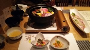 寒ブリと彩り有機野菜のしゃぶしゃぶ
